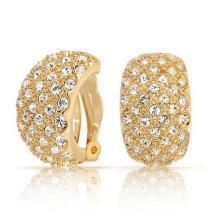 Bridal Prom Pave Crystal Wide Dome Half Hoop Clip On Earrings For Women Non Pierced Ears 14K Gold or Silver Plated Brass