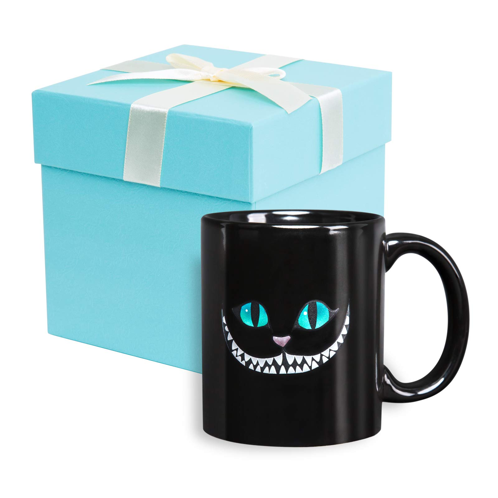 XANX SMON Amazon.com Cheshire Cat Mug Black 11OZ Funny Coffee Mug Animal Cup Cute Cup Porcelain Cup cat Mug Anime Mug