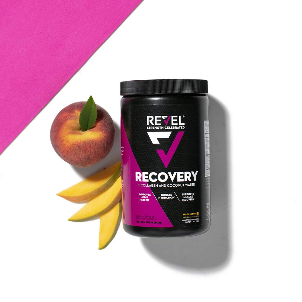 Revel Recovery for Women   BCAA Plus Collagen Powder   Essential Amino Acids and Coconut Water   Nutritional Supplement   Promote Energy Recovery Hydration   30 Servings (Peach Mango)
