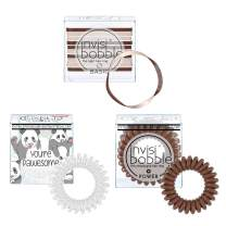 invisibobble Original Basic and Power Spiral Hair Ties - Weightless Hair Ring with Strong Grip, Non-soaking, Hair Accessories for Women - (Brown and White)