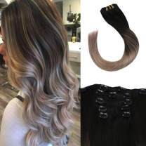 Full Shine 18 Inch Straight Clip In Hair Extensions Real Brazilian Hair Color 1B Fading To 18 Blonde Remy Clip In Balayage Hair Extensions 5 Pcs 100 Gram Human Hair Clip In Extensions For Women
