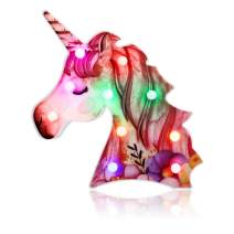 Accmor Unicorn Light, Color Changeable Unicorn Lamp, Painted Flower Light Up Unicorn Night Light, Decorative Marquee Signs Table Lamp Light Unicorn Gifts for Wall Decoration, Kids' Room Home Décor