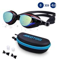 AIKOTOO Swim Goggles,Shortsighted Swimming Goggles Myopic Lenses Anti Fog Nose Clip Ear Plugs for Women Kids Men, Swimming Goggles