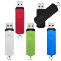 16GB USB 3.0 Thumb Drives Pack of 5, High Speed Flash Drive Bulk Metal Pen Drives 16 GB, Kepmem Capless Jump Drives Swivel Zip Drive USB3.0 Memory Sticks, Multicolored