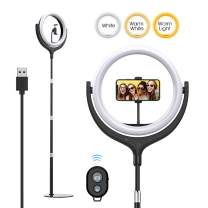 Yoozon 10'' LED Ring Light with Metal Disc Base & Cell Phone Holder, Dimmable 3000~6000K Touch Screen Ring Lights for YouTube Video/Self-Portrait Shooting/Makeup/Self-Portrait Shooting/Tiktok