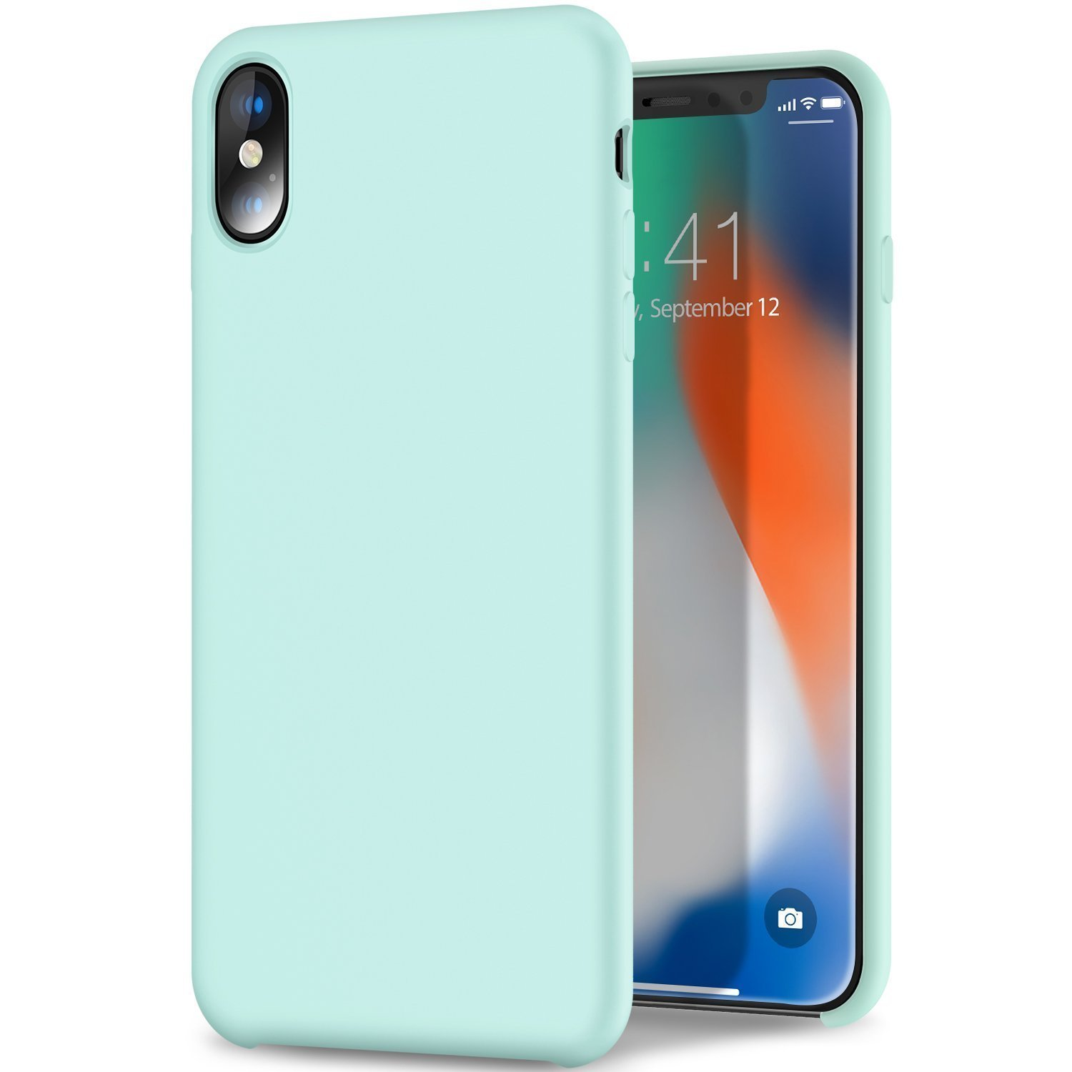 Imikoko iPhone Xs case, iPhone X case Liquid Silicone Gel Rubber Case with Soft Microfiber Cloth Lining Cushion Shockproof Bumper Cover for iPhone X (Gem Green)