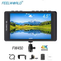 FEELWORLD FW450 4.5 inch Small 4k On Camera DSLR Field Monitor with 1200x800 HDMI Input and Out, IPS Screen Wild View Ultra-Light Monitoring Small hd Focus Monitor for