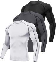 Lavento Men's Compression Shirts Long-Sleeve Dri Fit Workout Undershirts