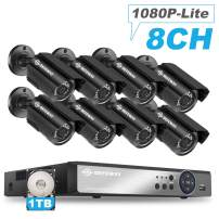 DEFEWAY 8 Channel Security Camera System, 1080P lite H.264+ CCTV Video Surveillance DVR with 8pcs AHD Wired Weatherproof Outdoor/Indoor Bullet Security Cameras,1TB Hard Drive Included