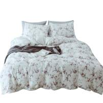 MKXI Flower Branches Duvet Covers White Queen Bedding Set Red and Blue Rose Floral Girls Bed Set Cozy Lightweight Cotton Botanical Duvet Cover Set with 2 Pillow Shams