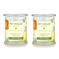 One Fur All - 100% Natural Soy Wax Candle - Pet Odor Eliminator, Up to 60 Hours Burn Time, Non-Toxic, Eco-Friendly Reusable Glass Jar Scented Candles – Fresh Citrus - Pack of 2
