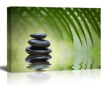 wall26 - Rocks on a Serene Lake Under a Palm Tree - Canvas Art Home Decor - 16x24 inches