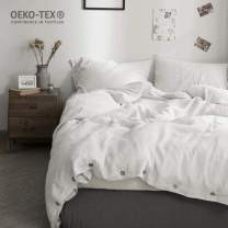 Simple&Opulence 100% Washed Linen Duvet Cover King-3 Pcs Solid Natural Flax Bedding Set(1 Comforter Cover+ 2 Pillowcases)-Farmhouse Comforter Set with Coconut Button Closure
