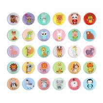 30pcs Fridge Magnets for Refrigerator Decor Whiteboard Decorative Magnets for Holiday Gift Magnet Dry Erase Board Round Office Magnets by Morcart (Animals)