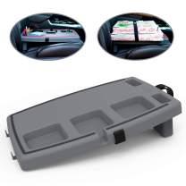 STUPID Car Anti-Slip Multi-Compartment Car Organizer & Food Tray with Cargo Straps & Hooks, Gray/Black