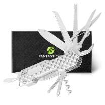 FANTASTICAR 15 in 1 Pocket Folding Multi-Tool, Key Chain, Pocket Knife With Premium Gift Box for Camping, Fishing, Hunting, Survival, Heavy Duty Outdoor (silver2)