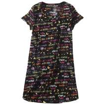 Aoymay Women's Cotton Nightgown Sleepwear Print Short Sleeves Shirt Casual Sleepdress