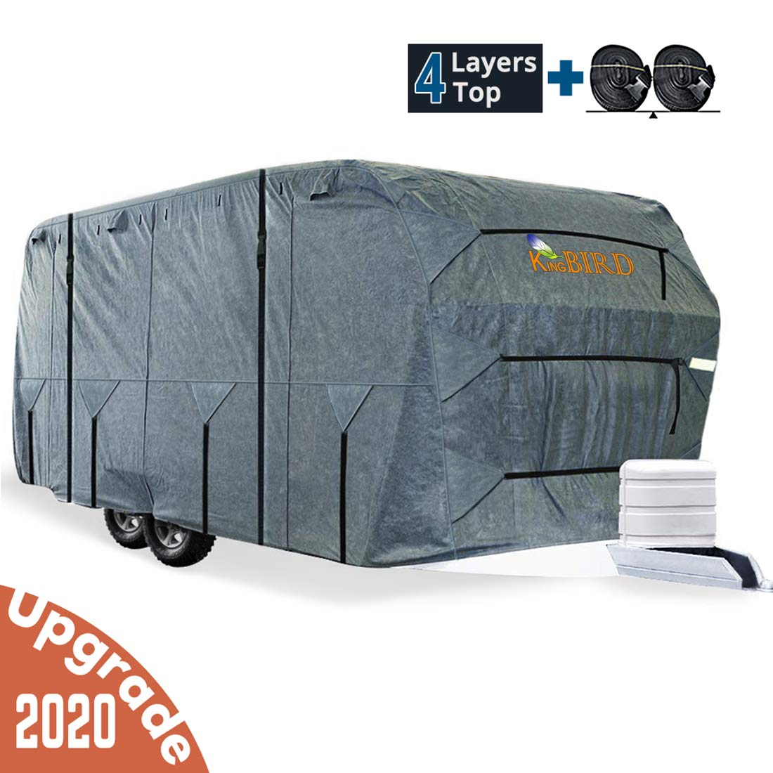 KING BIRD Extra-Thick 4-Ply Top Panel & Extra 2Pcs Reinforced Straps, Deluxe Camper Travel Trailer Cover, Fits 24'- 27' RV Cover -Breathable Water-Repellent Anti-UV with Storage Bag&Tire Covers
