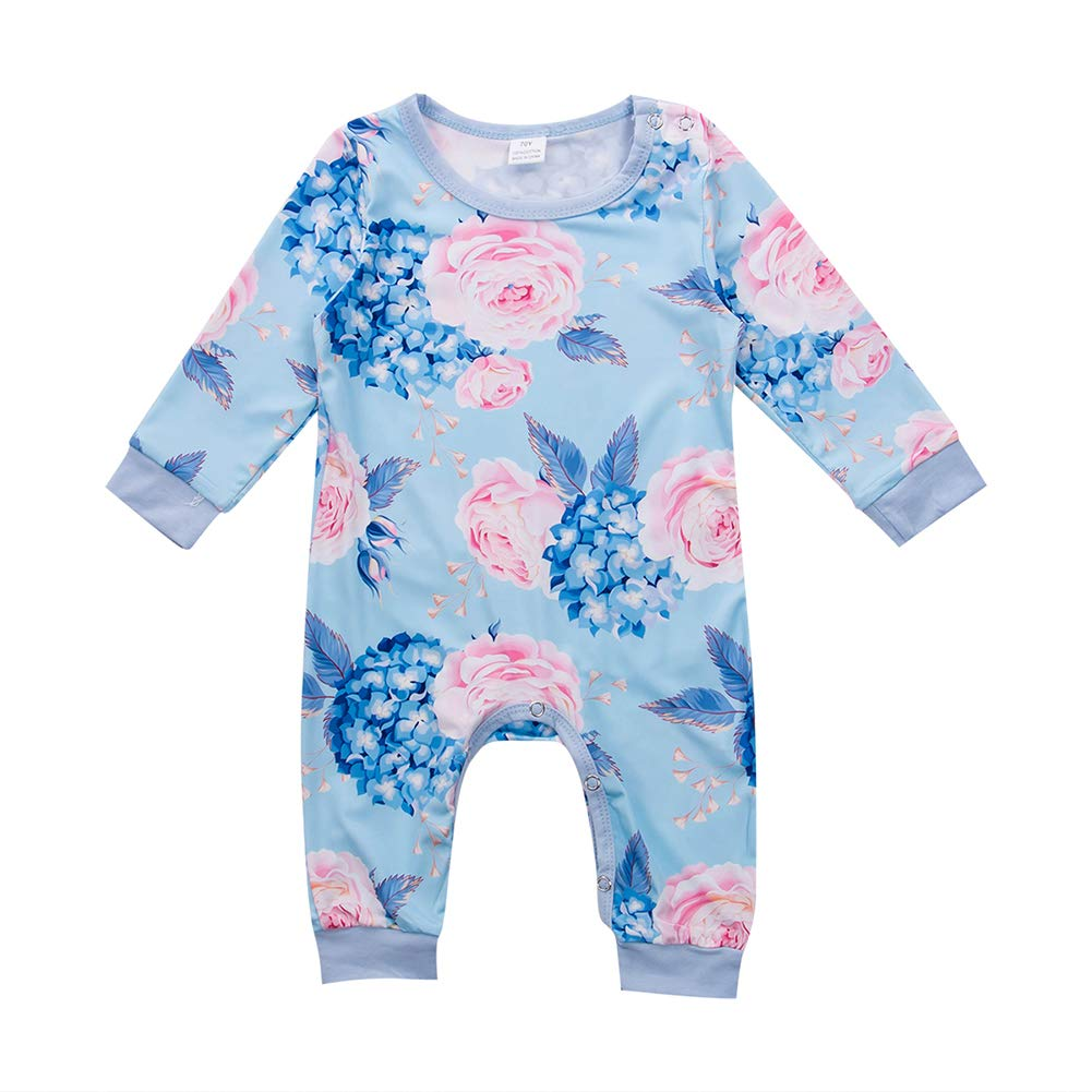 MA&BABY Baby Girl Floral Romper Long Sleeve Blue Rose Jumpsuit+Headband Infant Bodysuit One Piece
