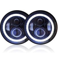 GENSSI 7 Inch Round LED Headlights Halo Angle Eyes Signal Compatible With Jeep Wrangler 1997-2017 JK LJ TJ Black