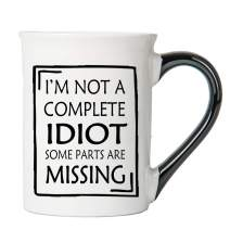 Cottage Creek I'm Not A Complete Idiot, Some Parts Are Missing Large 18 Ounce Ceramic Funny Coffee Mug/Funny Gifts Funny Mug Joke Mug [White]
