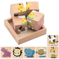 Wooden Block Puzzle, Educational Preschool Jigsaw Cube Puzzle Toys for Toddlers with Age 2 3 4 Years Old and Up