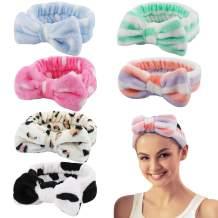CURASA 6 Pack Spa Headbands for Women Facial Makeup Headband Turban Bowknot Headbands for Wash Face Skincare Head Wrap for Women Soft Carol Fleece Sweet Hair Accessories
