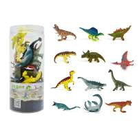 """RECUR Dinosaur Toys for Toddlers Party Favors,3"""" Educational Realistic Dinosaur Figures with Scientific Popularization Book Gift Set (12 Pack)"""