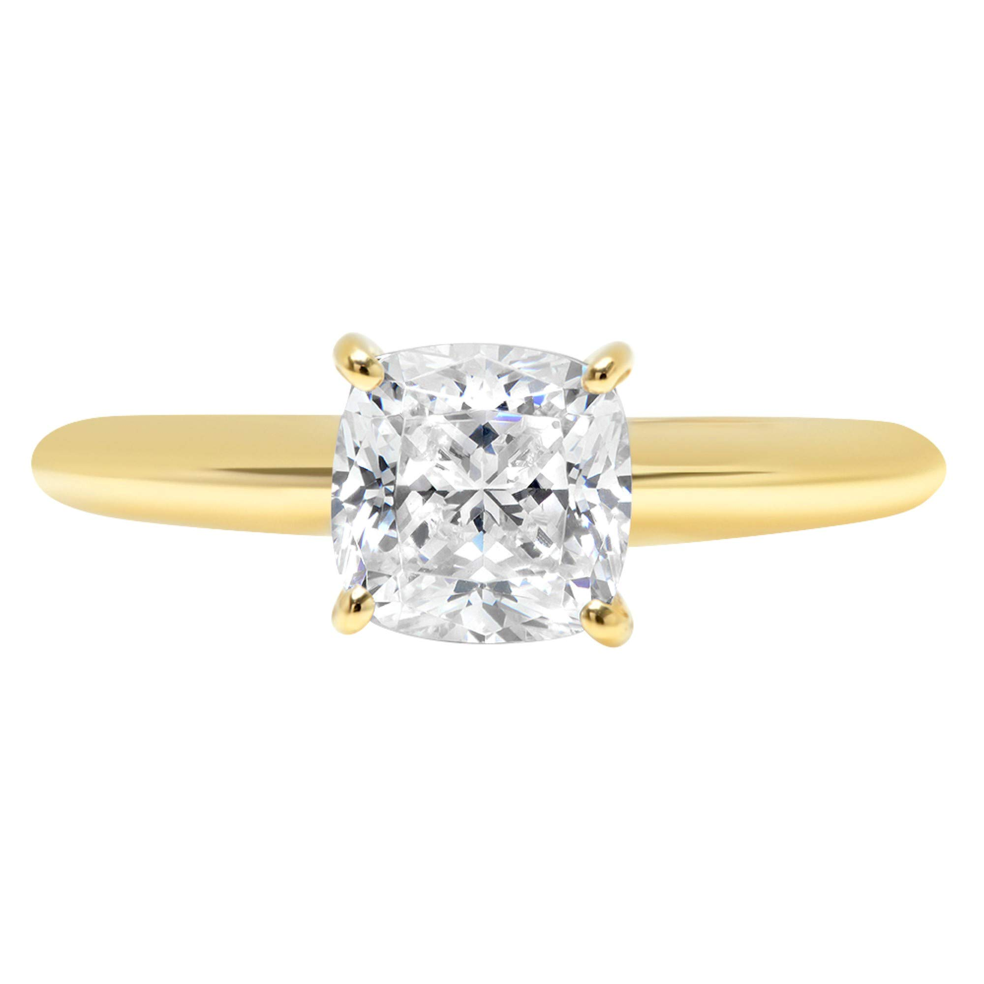 1.4ct Brilliant Cushion Cut Solitaire Highest Quality Lab Created White Sapphire Ideal VVS1 D 4-Prong Engagement Wedding Bridal Promise Anniversary Ring Solid Real 14k Yellow Gold for Women