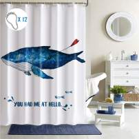"Shower Curtain 72"" x 72"", Whale Underwater World Bathroom Polyester Shower Curtain for Bathroom Showers and Bathtubs, with 12 Grommet Holes, Hooks, Waterproof, Whale with Heart Ball, Blue White"