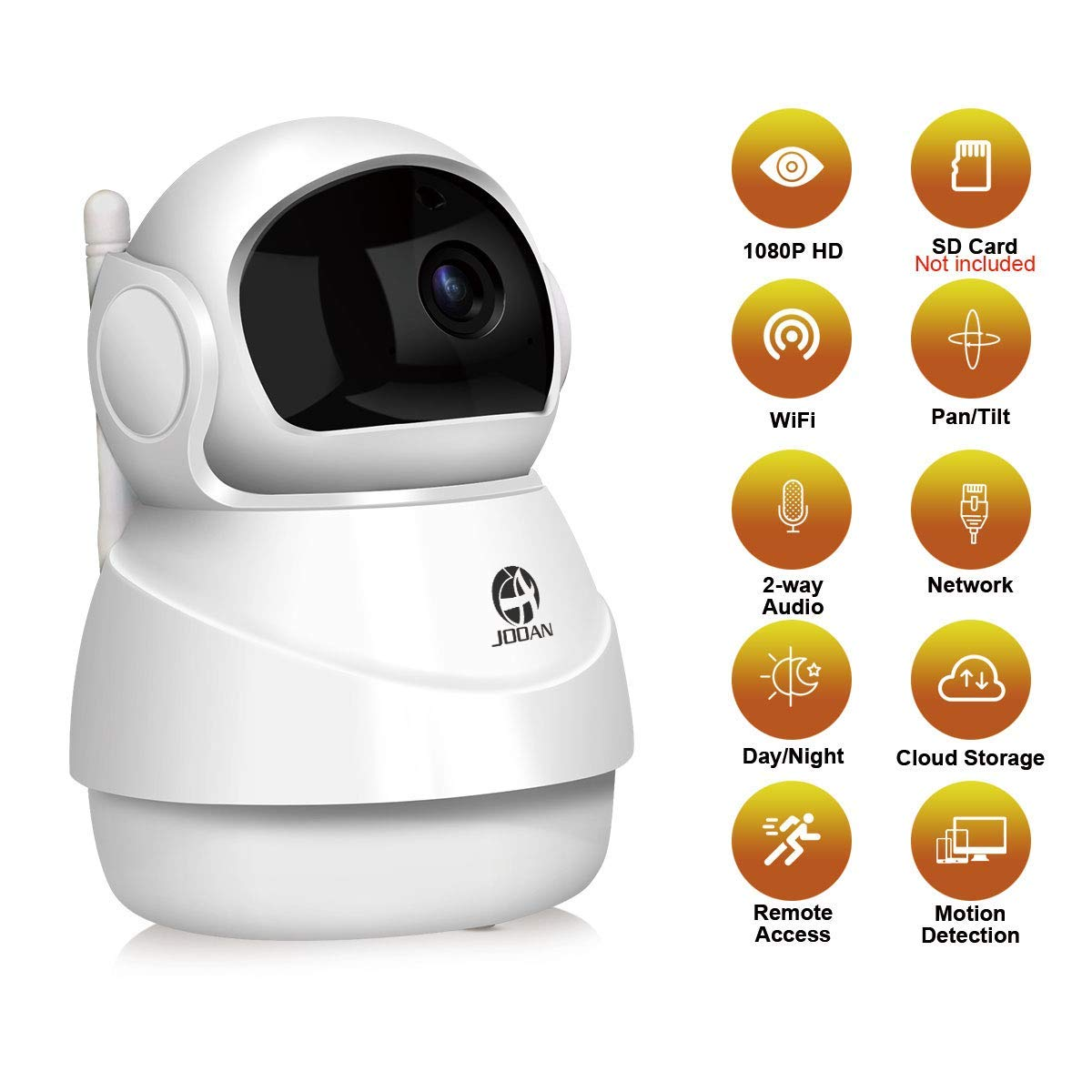 1080P Security Camera WiFi Home Security Surveillance System Wireless 2MP HD IP Camera for Pet Elder Nanny Baby Monitor Work with Two Way Audio Night Vision Motion Detection Pan/Tilt Remote (White)