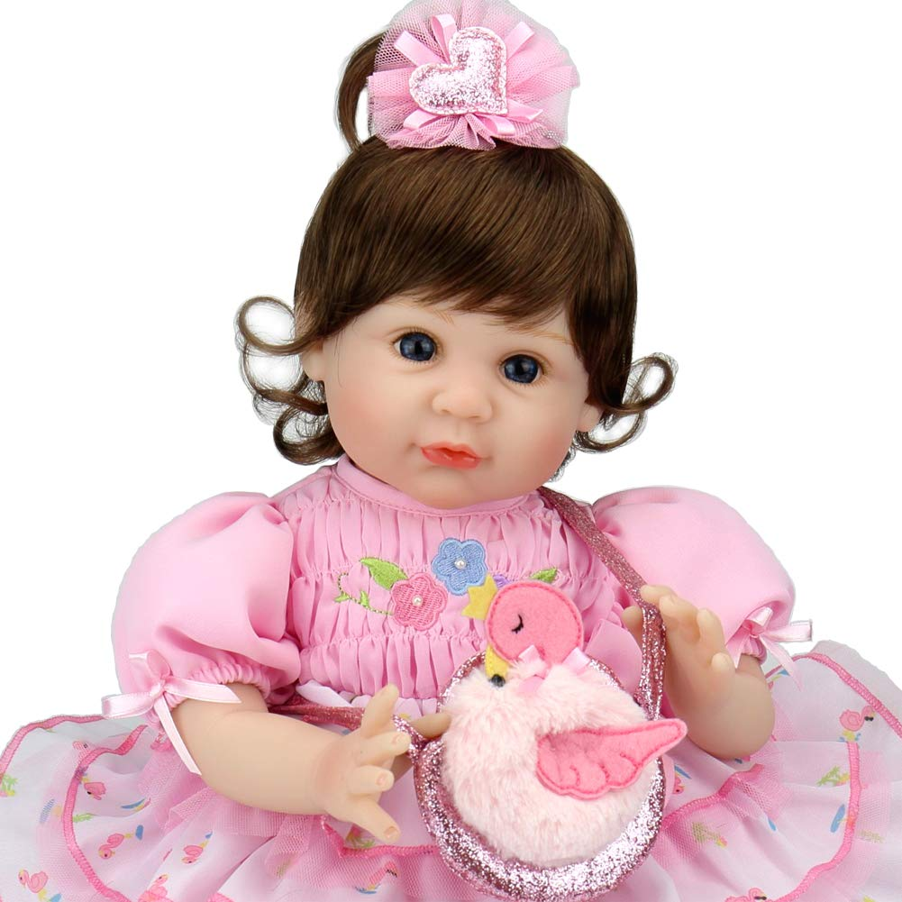 Aori Reborn Baby Dolls 22 Inch Real Looking Weighted Lifelike Toddler Girl Doll with Flamingo Bag