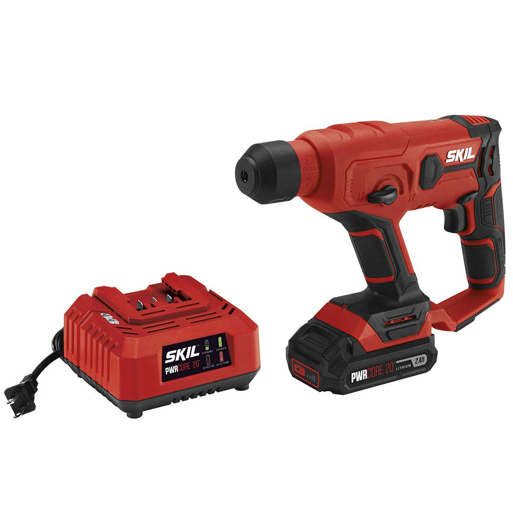 SKIL 20V SDS-Plus Rotary Hammer, Includes 2.0Ah PWRCore 20 Lithium Battery and Charger - RH170202