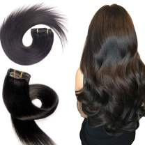"""120g Clip in Hair Extensions Real Human Hair Extensions Double Weft Brazilian Remy Yaki Straight Hair for Women for African American Full Head 7PCS 45cm in #1B Natural Black Color(16""""18""""20""""22"""")18inch"""
