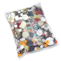 300 Gram Fancy Haberdashery Button & Decorative Assorted Sizes Flat & Shank Sewing & Craft Buttons Made of Plastic Elegant Random Detailed Shapes Design (Drill Mix Buttons)