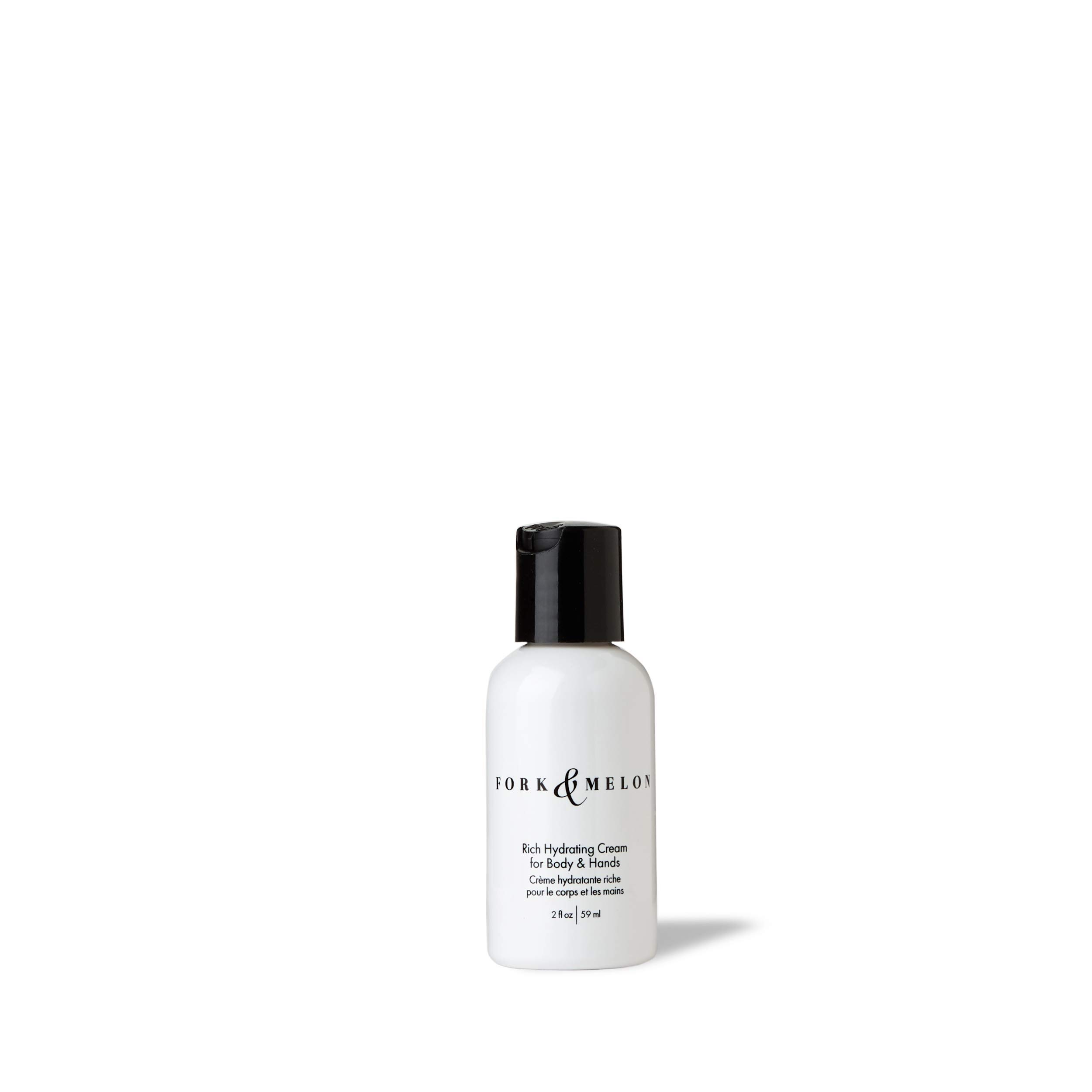 FORK & MELON Rich Hydrating Cream for Body & Hands (2oz) - Travel Size | TSA Approved | Organic Body Lotion | Best Lotion for Dry Hands