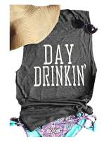 HDLTE Day Drinkin' Tank for Women Funny Letters Print Casual T-Shirt