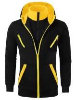 Lars Amadeus Men's Hoodie Sweatshirt Turtleneck Zip Up Kangaroo Pockets Color Block Jackets
