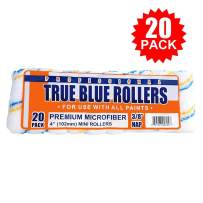 """True Blue Professional 4"""" Paint Roller Covers, Best for All Types of Paint (20, 3/8"""" Nap)"""