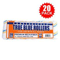 "True Blue Professional 4"" Paint Roller Covers, Best for All Types of Paint (20, 3/8"" Nap)"