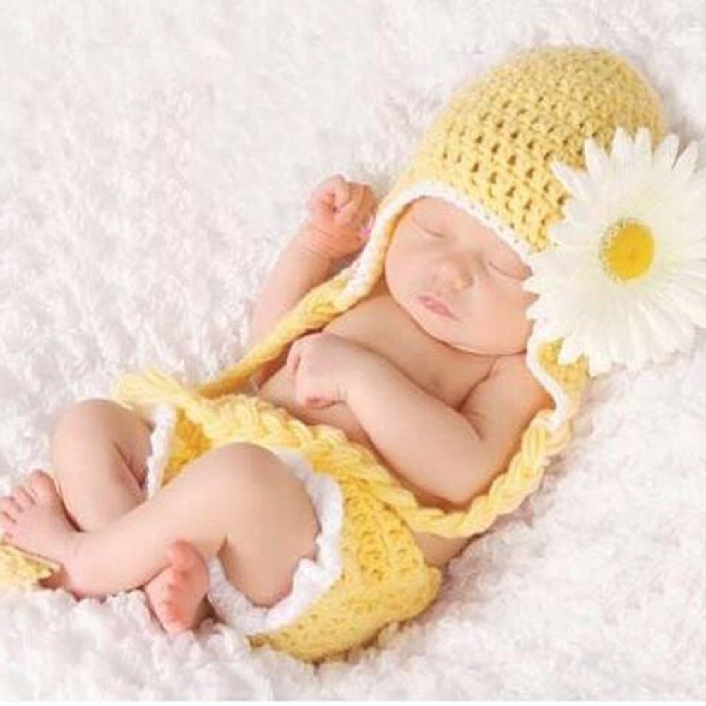 Baby Girls Newborn Sunflower Knit Crochet Clothes Beanie Hat Outfit Photo Props, Sizes (As Pic)