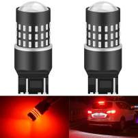 KATUR 7440 7443 7444NA 7441 992 Led Light Bulb High Power 3014 54 Chipsets Super Bright 650 Lumens Replace for Turn Signal Back Up Reverse Brake Tail Stop Parking RV Lights,Brilliant Red(Pack of 2)