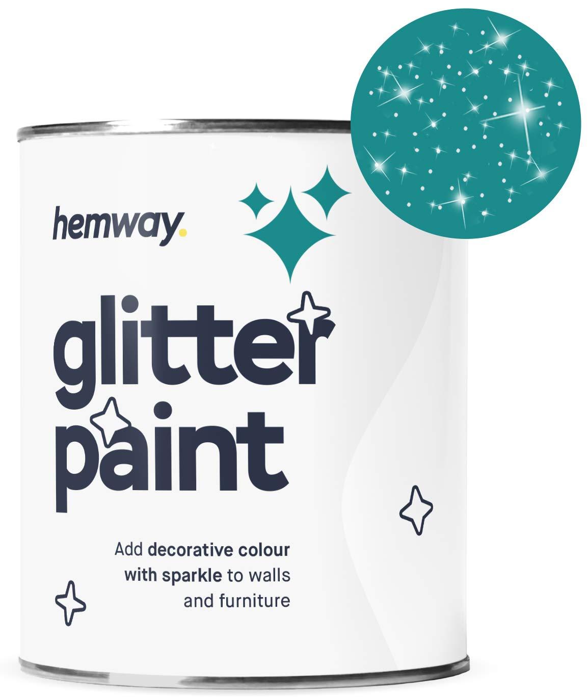 Hemway Silver Glitter Paint 1L Matte Walls Wallpaper Bathroom Furniture Acrylic Latex (Peacock Blue)