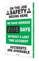 "Accuform Digi-Day 3 Electronic Safety Scoreboard,""ON THE JOB SAFETY BEGINS HERE - WE HAVE WORKED #### DAYS WITHOUT A LOST TIME ACCIDENT - ACCIDENTS ARE AVOIDABLE (SCK115)"