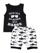 Baby Boy Clothes Waves Shades and Babes Print Summer Black Sleeveless Tops and Wave Short Pants Outfits
