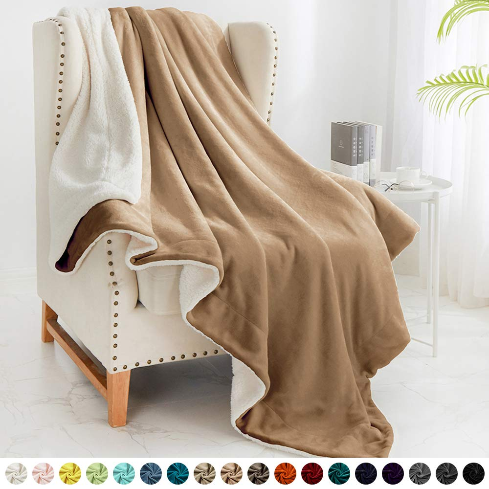 """Walensee Sherpa Fleece Blanket (Twin Size 60""""x80"""" Taupe) Plush Throw Fuzzy Super Soft Reversible Microfiber Flannel Blankets for Couch, Bed, Sofa Ultra Luxurious Warm and Cozy for All Seasons"""