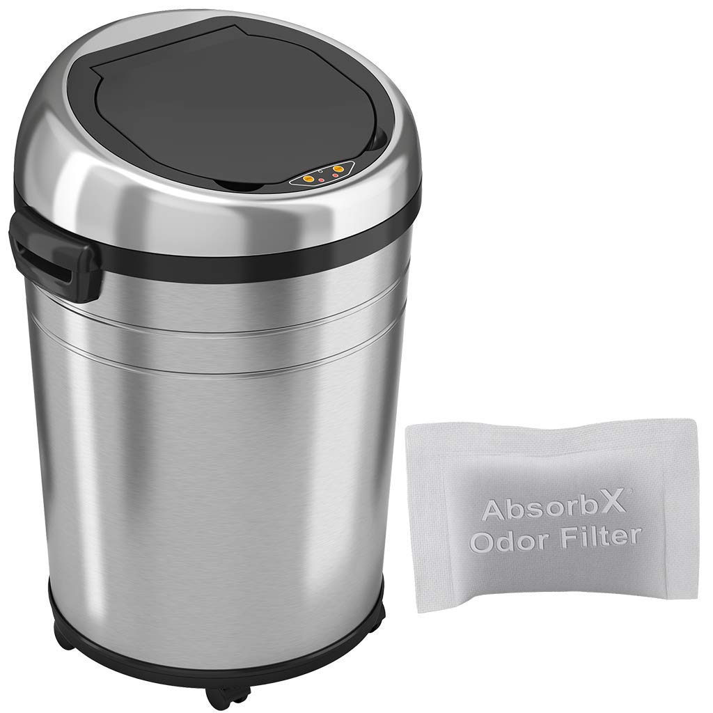 iTouchless 18 Gallon Sensor Trash Can with Odor Control System & Wheels, Stainless Steel, 68 Liter Round Commercial Size Touchless Automatic Garbage Bin for Home and Office, 18 Gal