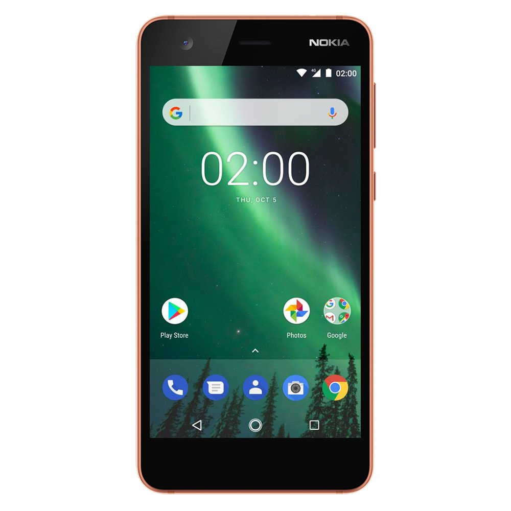 "Nokia 2 - Android - 8GB - Dual SIM Unlocked Smartphone (AT&T/T-Mobile/MetroPCS/Cricket/H2O) - 5"" Screen - Copper - U.S. Warranty"