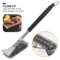 SamDeco Stainless Steel BBQ Grill Brush Tool Set,Clean BBQ Brush for Grill,Grill Brushes and Scrapper with Bristles[Newest with Scrapper]