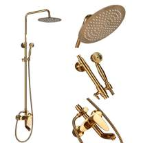 """Votamuta Gold Finish Bathroom 10"""" Rainfall Shower Head Faucet Set Wall Mounted Single Handle Adjustable Height Shower Mixer Tap with Hand Sprayer"""